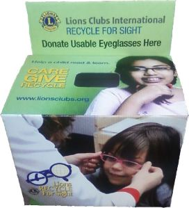 donate your used eyeglasses wherever you see this box.