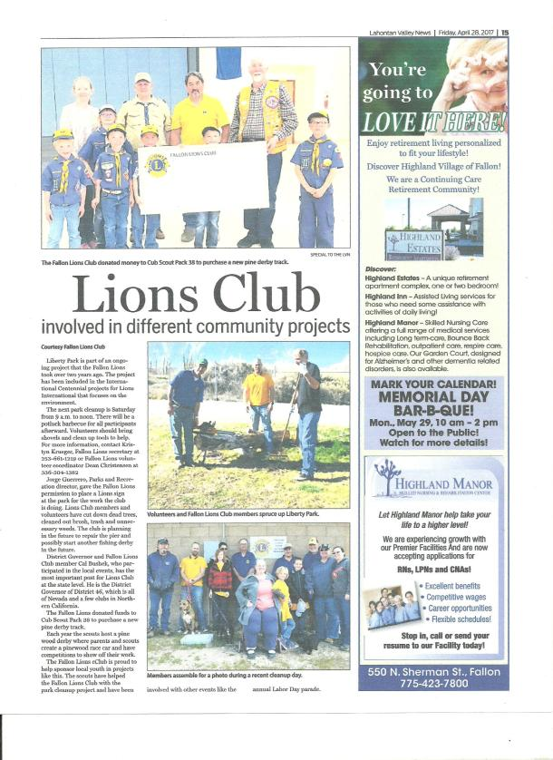 42817 Fallon Lions Newspaper Article 001