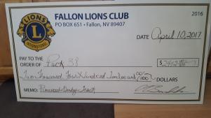 Cub Scout Donation Check